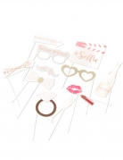 Kit photobooth mariage rose gold 12 accessoires