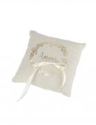 Porte alliance en lin couronne végétale Amour champagne 18 cm