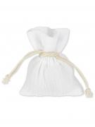 4 Pochons mousseline de coton blanc 8 x 10 cm