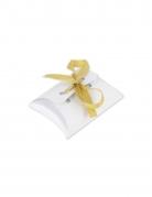 10 Boites blanches avec ruban satin or 10 x 7,5 cm