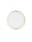 6 Petites assiettes en carton blanches et bordures dorées 18 cm