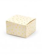10 Boîtes en carton pêches à pois dorés 6 x 3,5 x 5,5 cm