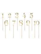 11 Marque tables piques chiffres dorés 26,5 cm