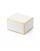10 Boîtes en carton carrées blanches et dorées 6 x 3,5 x 5,5 cm