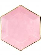 6 Assiettes hexagonales en carton roses et dorées 23 cm
