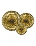 3 Rosaces en papier dorées 40, 32 et 23 cm