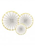 3 Rosaces en papier blanches et dorées 40, 32 et 23 cm