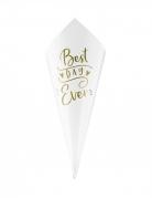 10 Cônes en papier best day ever blancs et dorés 16 cm