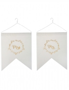 2 Fanions en coton et satin Just Married métallisés 20 x 30 x 22 cm