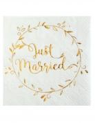 20 Petites serviettes en papier Just Married métallisées 25 x 25 cm