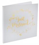 Livre d'or Just Married blanc et doré métallisé 24 cm