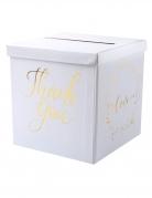 Tirelire en carton Just Married blanc et doré métallisé 20 cm