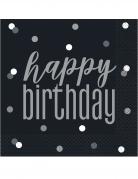 16 Serviettes en papier happy birthday noires et grises 33 x 33 cm