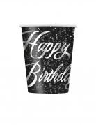 8 Gobelets en carton happy birthday noirs et argents 266 ml