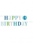 Guirlande en carton happy 1st birthday bleue 1,8 m