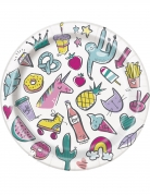 8 Petites assiettes en carton happy birthday pop 18 cm