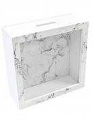 Boîte à messages en bois effet marbre blanc 18 x 7 cm