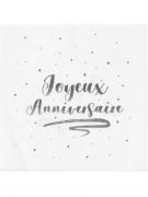 20 Serviettes en papier joyeux anniversaire argentées métallisées 33 x 33 cm