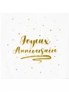 20 Serviettes en papier joyeux anniversaire dorées 33 x 33 cm
