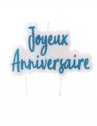 Bougie sur pique joyeux anniversaire turquoise pailletée 8 x 5 cm