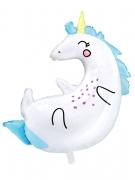 Ballon en forme de licorne blanche et bleue 70 x 75 cm