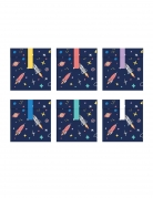 6 Sacs cadeaux en papier space adventure 13 x 14 cm