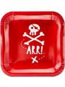 6 Assiettes en carton fête de pirate rouges 20 cm