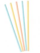 10 Pailles en carton couleurs pastel 19,5 cm