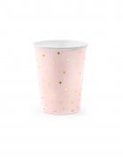 6 Gobelets en carton rose pâle et pois dorés 260 ml