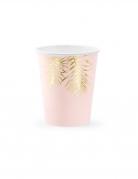 6 Gobelets en carton tropical roses et dorés 220 ml