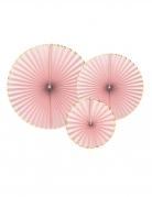 3 Rosaces en papier roses poudrées et dorées 23, 32 et 40 cm