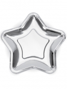 6 Assiettes en carton étoile argentée 23 cm