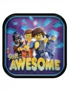 8 Petites assiettes en carton carrées La Grande Aventure Lego 2™ 18 x 18 cm