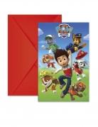 6 Cartons d'invitation avec enveloppes Pat'Patrouille prêt pour l'action™