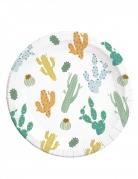 8 Assiettes en carton cactus 20 cm