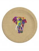 8 Assiettes en carton biodégradable éléphant multicolore 23 cm