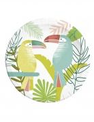 8 Assiettes en carton Toucan tropical 23 cm