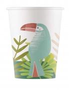 8 Gobelets en carton Toucan tropical 200 ml