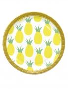 8 Assiettes en carton ananas 23 cm