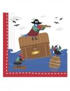20 Serviettes en papier pirates dans la mer 33 x 33 cm