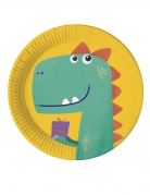 8 Assiettes en carton compostable dinosaure party 23 cm