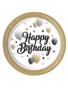 8 Assiettes en carton happy birthday doré noir argent 23 cm