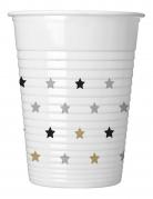 8 Gobelets en plastique étoiles doré noir argent 200 ml