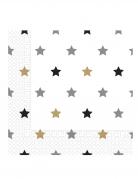 20 Serviettes en papier étoiles doré noir argent 33 x 33 cm