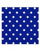 20 Serviettes en papier bleu roi à pois 33 x 33 cm