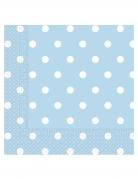 20 Serviettes en papier bleu ciel à pois 33 x 33 cm