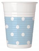 8 Gobelets en plastique bleu ciel à pois 200 ml