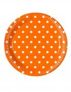 8 Assiettes en carton orange à pois 23 cm