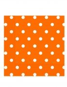 20 Serviettes en papier orange à pois 33 x 33 cm