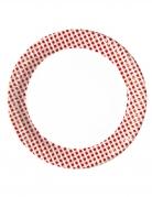 10 Assiettes en carton vichy rouge et blanc 23 cm